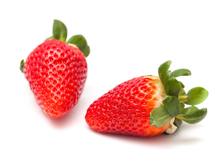 solated: large red ripe strawberries solated on white