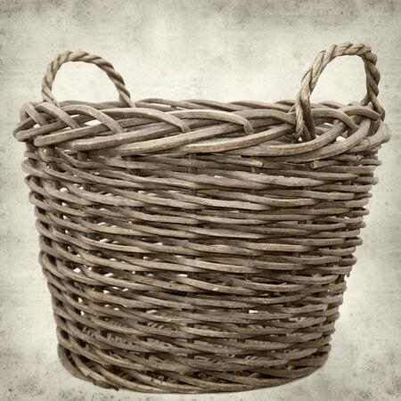 harvest basket: textured old paper background with large harvest basket