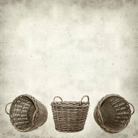 textured old paper background with large harvest basket photo
