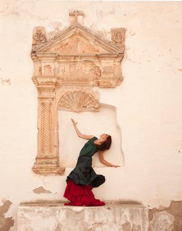 flamenco dancer in the ruins of a church in Fuerteventura photo