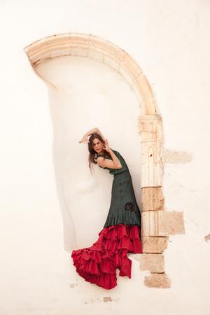 flamenco and old church - dancer in a ruined building at Betancuria, Fuerteventura photo
