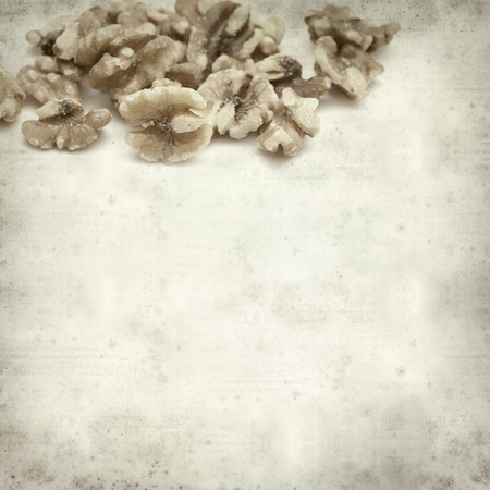 textured old paper background with walnuts photo