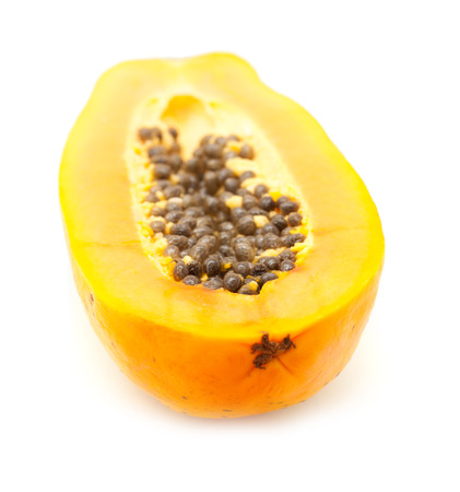 papaw: papaya fuit cut in half  isolated on white backgound