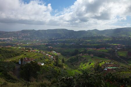 all weather: Inland Gran Canaria, view towards central mountains from Pino Santo Alto, Santa Bridiga - Teror hiking route