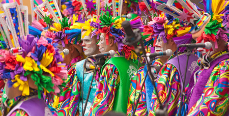 Gran Canaria Carnival 2015, people in colorful costumes, murgas performance