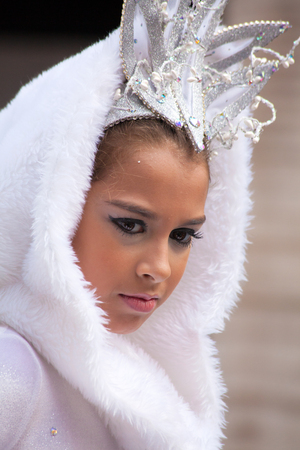 LAS PALMAS - February 17: Children Carnival Dame takes part in Children carnival  parade, February 17, 2015 in Las Palmas, Gran Canaria, Spain