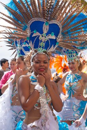 LAS PALMAS - February 17: Samba drummer and dancer groups assemble for the Las Canteras beach carnival  parade, February 17, 2015 in Las Palmas, Gran Canaria, Spain