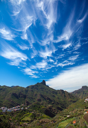 cirrus clouds: Gran Canaria, February, wispy cirrus clouds over Roque Bentayga Stock Photo