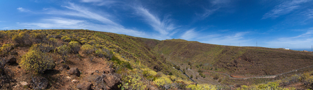 Barranco de Guayadeque Ravine, Gran Canaria, sight of archeological and cultural interest, panoramic shot Stock Photo