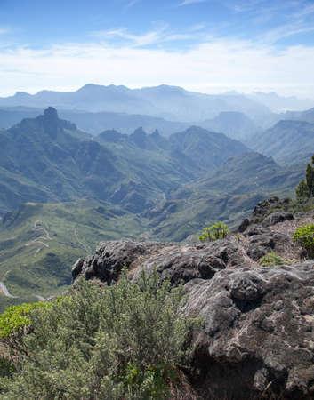 mosses: Gran Canaria, Caldera de Tejeda, view over smooth rocks with dead mosses into the Caldera