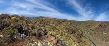 aborigin: Barranco de Guayadeque Ravine, Gran Canaria, sight of archeological and cultural interest, panoramic shot Stock Photo