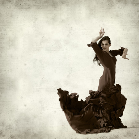 flamenco: textured old paper background with flamenco dancer