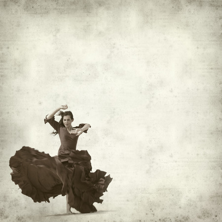 spanish woman: textured old paper background with flamenco dancer