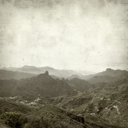 awesome wallpaper: textured old paper background with Gran Canaria Landscape