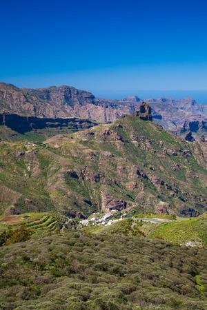 visible: Gran Canaria, view from Cruz de Tejeda towards Roque Bentayga, Tejeda village visible