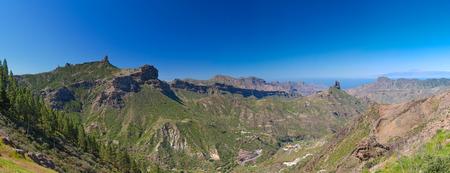 Gran Canaria, view across Caldera de Tejeda, Teide on Tenerife and La Gomera visible photo