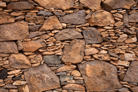 dry stone: Fuerteventura, dry stone wall of local red rock, manmade backgroud