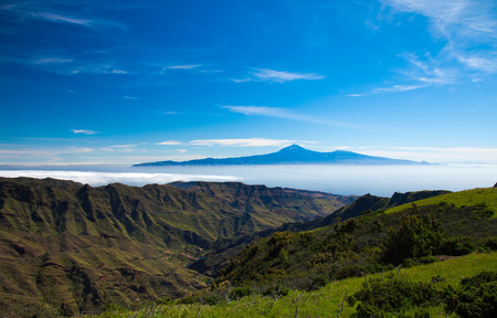 La Gomera, view towards Teide on tenerife, volcano floating on a sea of clouds