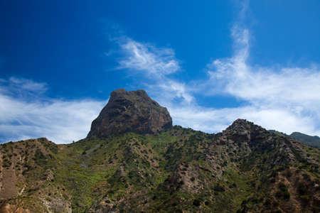 La Gomera, Roque Cano over Vallehermoso, organ pipes basalt columns structure visible Stock Photo