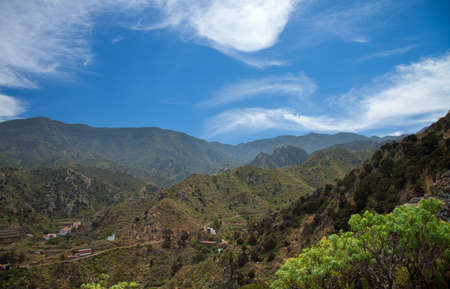 vallehermoso: La Gomera, Vallehermoso, view over the village towards the center of the island Stock Photo