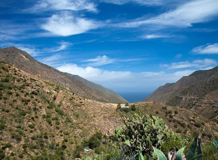 vallehermoso: La Gomera, Vallehermoso, view  towards the ocean Stock Photo