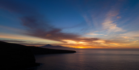spectacular sunrise over Teide on Tenerife, as seen from La Gomera photo
