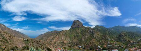 La Gomera, Vallehermoso, volcanic plug Roque Cano over the village