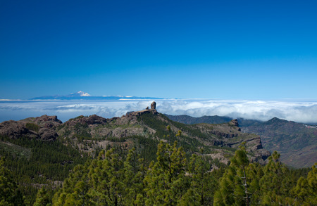 Gran Canaria, Los Cumbres - the highest areas of the island, view towards Roque Nublo and Teide on Tenerife photo