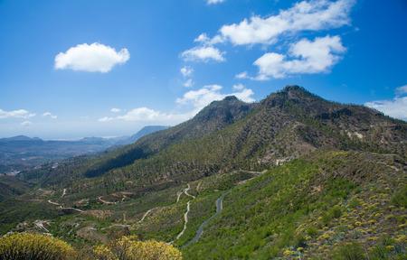 canary isalnds: Gran Canaria, route Cruz Grande - Llanos de la Pez view towards Cruz Grande and Tirajana Stock Photo