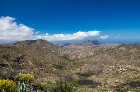 canary isalnds: Gran Canaria, Barranco de Soria, aerial view Stock Photo