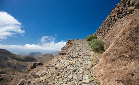 canary isalnds: Gran Canaria, hiking route Cruz Grande - Llanos de la Pez, steep footpath, camino real, against the wall of the valley