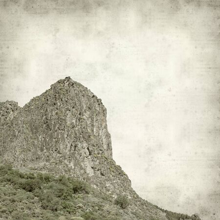 pino: textured old paper background with landscape of Gran Canaria