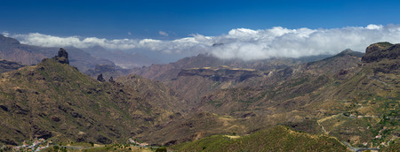 blanketed: Gran Canaria, Caldera de Tejeda in May, Altavista mountain range is covered by clouds Stock Photo