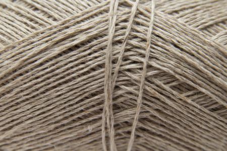 fibrous: unbleached lilnen knitting yarn ball background Stock Photo