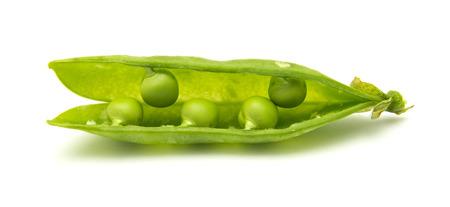 pea pod: green pea pod macro isolated on white Stock Photo