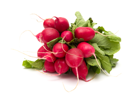 a bunch of radish isolated on white photo