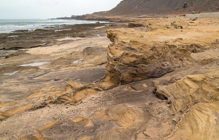 las palmas: Gran Canaria, El Confital beach at the edge of Las Palmas, eroded sandstone patterns