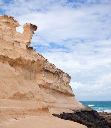 Fuerteventura, Canary Islands, west coast of Jandia, eroded sandstone structures