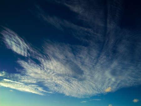convection: Cirrocumulus clouds natural background, evening light, horizontal Stock Photo