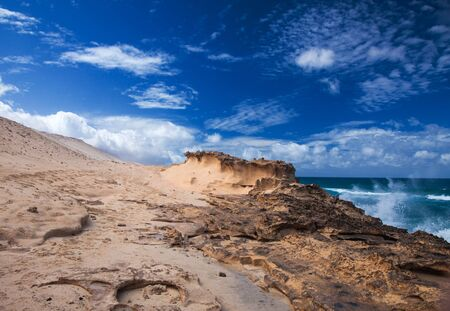 Fuerteventura, 카나리아 제도, Jandia의 서쪽 해안, 침식 된 사암 구조