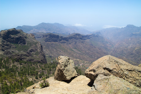 inland: Inland Central Gran Canaria, view south from Roque Nublo Stock Photo