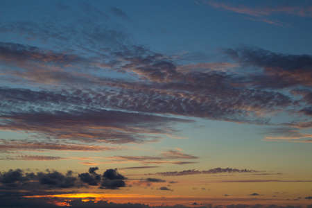 convection: darkening sunset sky with many types of clouds, natural background