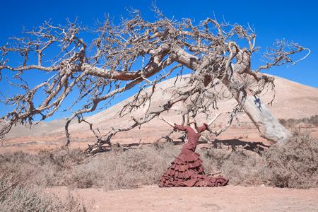 bailando flamenco: el flamenco y el �rbol muerto - hermosa mujer bailando flamenco joven contra el fondo natural