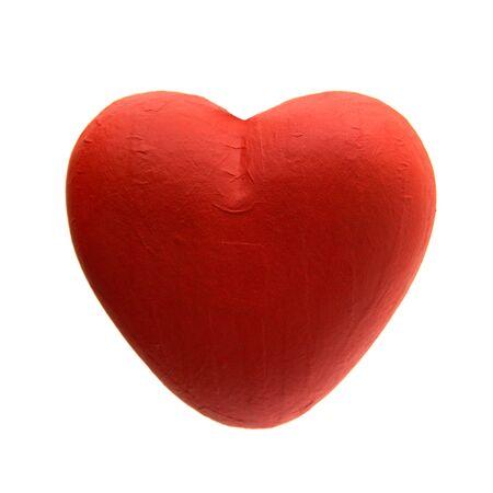 papier mache: coraz�n cart�n piedra aislado en el fondo blanco