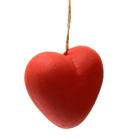papier mache: papier mache heart isolated on white background Stock Photo