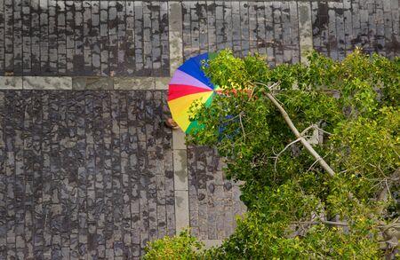 rainbow umbrella: rainbow umbrella on wet pavement, shot from above
