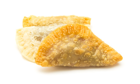 literally: Canary islands sweets - truchas de fruta. Trucha is literally a trout, which refers to fish-like shape of the pastry, traditionally filled with sweet potato, but with possible variations, here filled with summer fruit Stock Photo