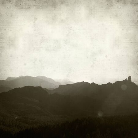 timeless: textured old paper background with landscape of Gran Canaria