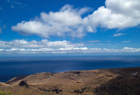 towards: La Gomera, Canary islands, view towards south coast, road with hairpin bends Stock Photo