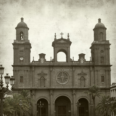las palmas: textured old paper background with Las Palmas de Gran Canaria Cathedral Santa Ana Stock Photo